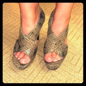 Diane von Furstenberg Grey Stone Snake Print Heels